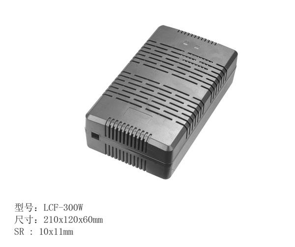 产品说明: 产品名称: 300W汽车电源外壳 型号:LCF-300W 规格尺寸:210x120x60mm 输出口:DC两边出线 SR尺寸 : 8.7x11mm 接方式:扣位打螺丝 材料:PC环保(ABS、PC+ABS、PC) 颜色:黑 重量:265G 灯孔:有灯配灯柱 防火级别:V1 耐温:125度 环保认证:符合ROHS认证